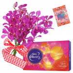 Orchids for Love - 6 Orchids Bunch, Cadbury Celebration 118 gms + Card