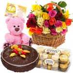 Basket Full of Gifts - 20 Mix Roses Basket, Ferrero Rocher 16 Pcs, Teddy Bear 6 inch, 1/2 Kg Chocolate Cake + Card