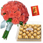 Awesome Bestowal - 20 Pink Roses Bunch, Ferrero Rocher 24 Pcs + Card