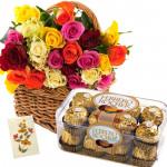 Ferrero N Roses - 40 Mix Roses Basket, Ferrero Rocher 16 Pcs + Card