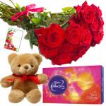 Tribute of Bonding - 18 Red Roses Bunch, Cadbury Celebration, Teddy Bear 6 inch + Card