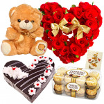 Accomplished - 50 Red Roses Heart Shaped Arrangement, Ferrero Rocher 16 Pcs, Teddy Bear 6 inch, 1 Kg Heart Shaped Black Forest Cake + Card