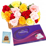 Fondness - 15 Mix Roses Basket, Cadbury Celebration + Card
