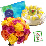 Pina Choco Magic - 18 Mix Roses Bunch, Cadbury Celebration, Pineapple Cake 1/2 kg + Card
