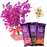 Soft as Silk - 6 Orchids Bunch, 3 Cadbury Silk + Card