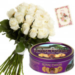 White Crunch - 18 White Roses Bunch, Danish Butter Cookies 454 gms + Card