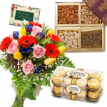 Assorted Crunch - 12 Mix Flowers Bunch, Ferrero Rocher 16 Pcs, Assorted Dry Fruits 200 gms + Card