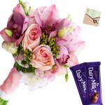 Pink Chocolaty - 12 Pink Flowers Bunch, 2 Cadbury Dairy Milk + Card