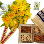 Seasonal Crunch - 10 Yellow Seasonal Flowers Bunch, 2 Toblerone, Assorted Dry Fruits 200 gms + Card