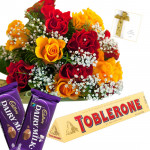 Red N Yellow Treat - 12 Red & Yellow Roses Bunch, Toblerone 50 gms, 2 Dairy Milk Chocolates + Card