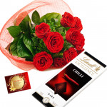 Lindt Gift - 12 Red Roses Bunch, Lindt Excellence Chocolate + Card