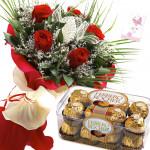 Rosy Ferrero - 6 Red Roses, Ferrero Rocher 16 Pcs + Card