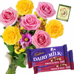 Pink N Yellow Nuts - 6 Pink & Yellow Roses Bunch, 2 Fruit N Nut + Card