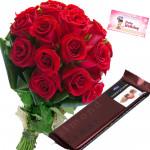 Fine Temptation - 9 Red Roses Bunch, Cadbury Temptation + Card