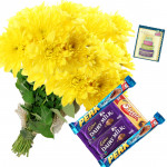 Yellow Bars - 15 Yellow Carnations Bunch, 5 Assorted Bars + Card