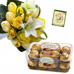 Flowers with Ferrero - 18 Yellow Flowers Bunch, Ferrero Rocher 16 Pcs + Card
