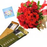 Roses N Gerberas - 16 Red Roses & Gereberas Bunch, 2 Temptation Chocolates + Card