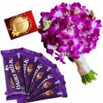 Orchids N Cadbury - 12 Purple Orchids Bunch, 5 Dairy Milk + Card
