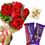 Red Chocolaty - 6 Red Roses Bunch, Cadbury Fruit N Nut Chocolates, Dairy Milk + Card