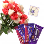 Roses N Bars - 10 Pink & White Roses Bunch, 2 Cadbury Fruit N Nut, Dairy Milk + Card