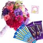Mix Choco Bars - 12 Mix Flowers Bunch, 2 Cadbury Dairy Milk, 5 Perk + Card