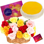 Elegant Treat - 20 Mix Roses in Basket, 1/2 Kg Pineapple Cake, Cadbury Celebration + Card