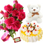 Cute Love - 6 Pink Roses, 1/2 Kg Pineapple Cake, Teddy Bear 6 inch + Card