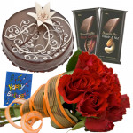 Polite Request - 15 Red Roses Bunch, 1/2 Kg Chocolate Cake, 2 Bournville + Card