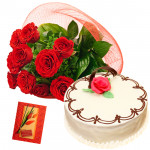 Brilliant Combo - 10 Red Roses Bunch, 1/2 Kg Vanilla Cake + Card