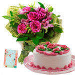 Talent for Surprise - 6 Pink Roses Bunch, 1/2 Kg Cake + Card
