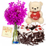 Expert to Impress - 6 Purple Orchids Bunch, 1/2 Kg Black Forest Cake, Teddy Bear 6 inch + Card