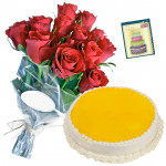 Proper Gift - 6 Red Roses Bunch, 1/2 Kg Pineapple Cake + Card