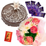 Full of Affection - 12 Mix Carnations Bunch, 1/2 Kg Chocolate Cake, 5 Dairy Milk + Card