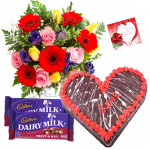 Appreciable Effort - 15 Mix Flowers Bunch, 1.5 KgChocolate Cake Heart Shape, 2 Fruit n Nut + Card
