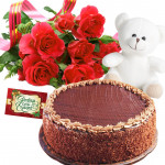 Grand Gifts - 10 Red Roses, 1/2 Kg Chocolate Cake, Teddy Bear 6 inch + Card