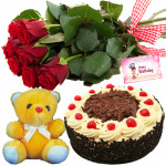 Desire of Love - 6 Red Roses Bunch, 1/2 Kg Black Forest Cake, Teddy Bear 8 inch + Card