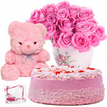 Addicted to You - 15 Pink Roses in Vase, 1/2 Kg Strawberry Cake, Teddy Bear 6 inch + Card
