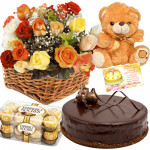 Liking You - 20 Mix Roses arranged in a Basket, 1/2 Kg Chocolate Cake, Teddy Bear 6 inch, Ferrero Rocher 16 Pcs + Card