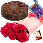 Yours Forever - 6 Red Roses Bunch, 1/2 Kg Chocolate Cake, 5 Dairy Milk + Card
