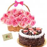 Marvelous Thought - 15 Pink Roses Basket, 1/2 Kg Black Forest Cake + Card