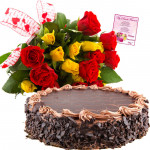Beauteous Gifts - 15 Yellow and Red Roses Bunch, 1/2 Kg Cake + Card