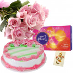 Classy Choice - 10 Pink Roses, 1/2 Kg Strawberry Cake, Cadbury Celebration + Card