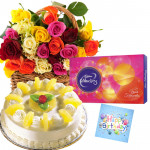 Fair Deal - 25 Mix Roses in Basket, 1/2 Kg Cake, Cadbury Celebration + Card