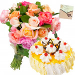 Nice One - 15 Mix Roses Bunch, 1/2 Kg Pineapple Cake + Card