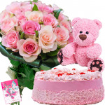 Radiant Joy - 12 Pink Roses, 1/2 Kg Strawberry Cake, Teddy Bear 6 inch + Card