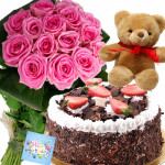 Marvelous Mix - 12 Pink Roses, 1/2 Kg Cake, Teddy Bear 6 inch + Card