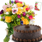 Miraculous Joy - 15 Mix Flowers, 1/2 Kg Chocolate Cake + Card
