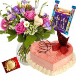 Terrific Choice - 15 Mix Flowers in Vase, 1 Kg Heart Shaped Cake, 5 Assorted Bars + Card