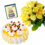 Hypnotic Combo - 20 Yellow Roses Bunch, 1/2 Kg Pineapple Cake + Card