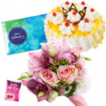 Serene Love - 12 Pink Roses Bunch, 1/2 Kg Pineapple Cake, Cadbury Celebration + Card